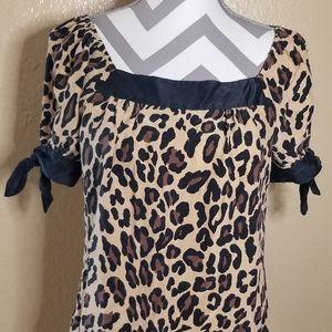 Leopard 100% Silk Blouse